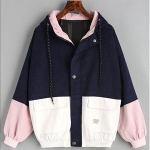 Color Block Corduroy Drawstring Hooded Jacket